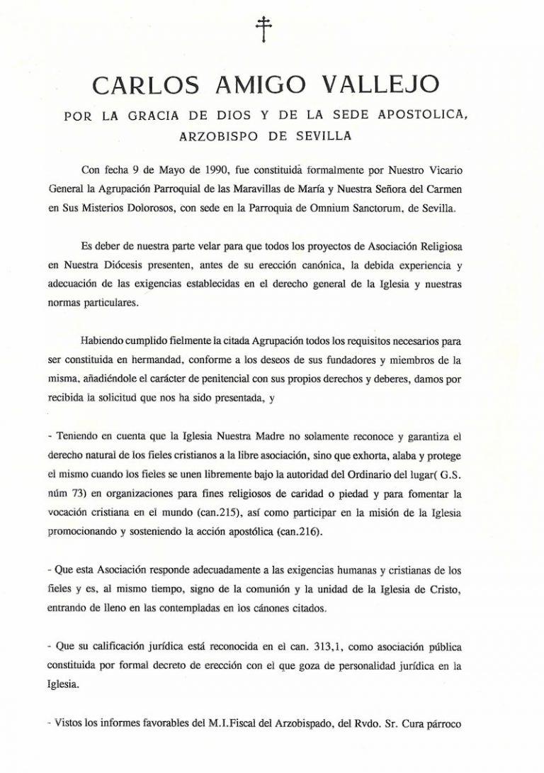Decreto erección canónica 1995