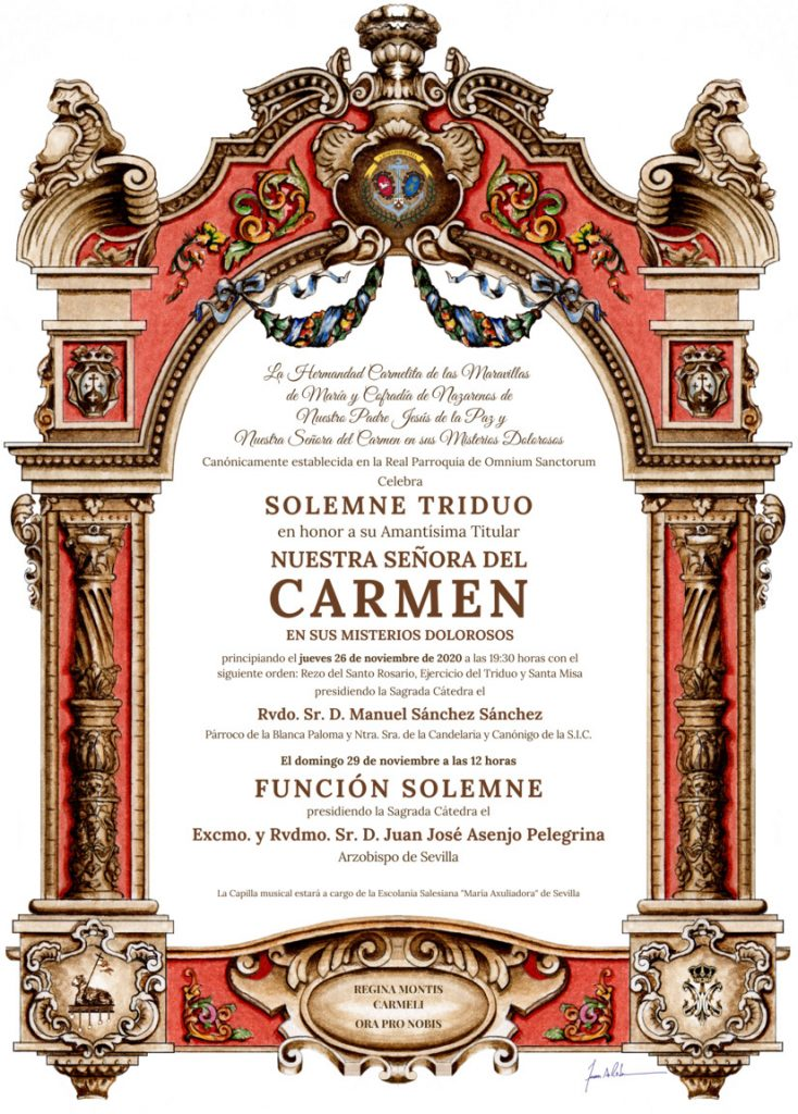 Convocatoria Solemne Triduo en honor a Ntra. Sra. del Carmen. Noviembre 2020